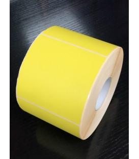 Rollo 1,1 Millar de Etiquetas Blanco Mate 100 x 100 Fondo Amarillo