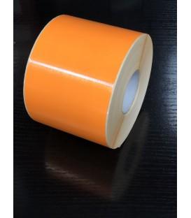 Rollo 1,15Millares Etiquetas Blanco Mate 100 x 100 Fondo Naranja