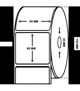 Rollo de 1,5 Millares de Etiquetas Semibrillo-couché 60 x 60 mm