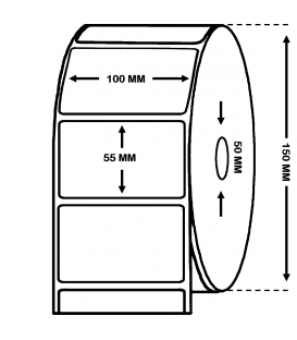 Rollo 2 Millares Etiquetas Papel Térmico 100 x 55 mm