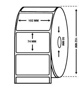 Rollo 1,5 Millares Etiquetas Papel Térmico 102 x 74 Adh. RH1