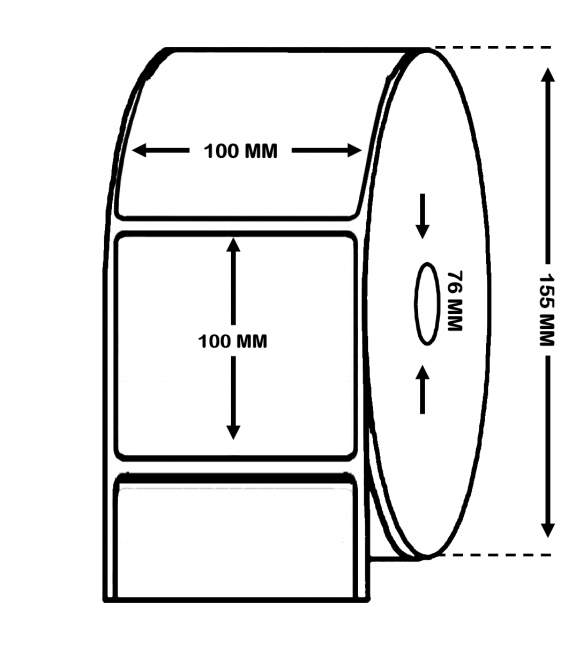 Rollo de 1.1 millar de etiquetas . Papel térmico 100 x 100 mm