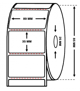 Rollo 1 Millares Etiquetas Papel Térmico 89 x 35 mm Trepadas
