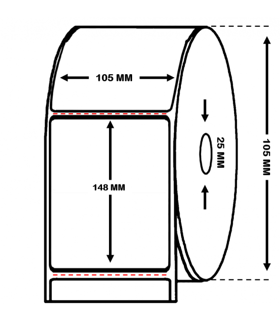 Rollo de 0.4 millares etiquetas papel térmico 105 x 148 mm