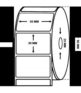 Rollo etiquetas adhesivas TERMICO TRATADO, rollo de 1.500 etiq - 50 x 30 mm