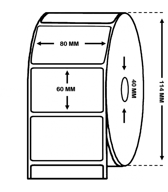 ROLLO DE 1 MILLAR ETIQUETAS PAPEL TÉRMICO 80 x 60 mm