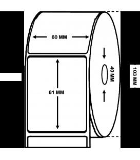 ROLLO DE 0.6 MILLARES DE ETIQUETAS POLIPROPILENO BLANCO BRILLO 60 x 81 mm