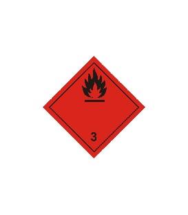 Caja 12 Millares Etiquetas Fondo Rojo Llama Negra 100 x 100 mm